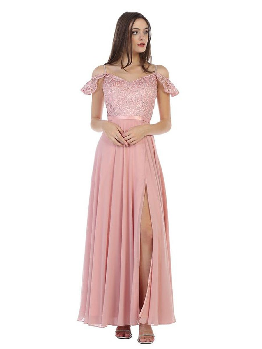 CINDY COLLECTION USA - Chiffon Gown Embroidered Bodice