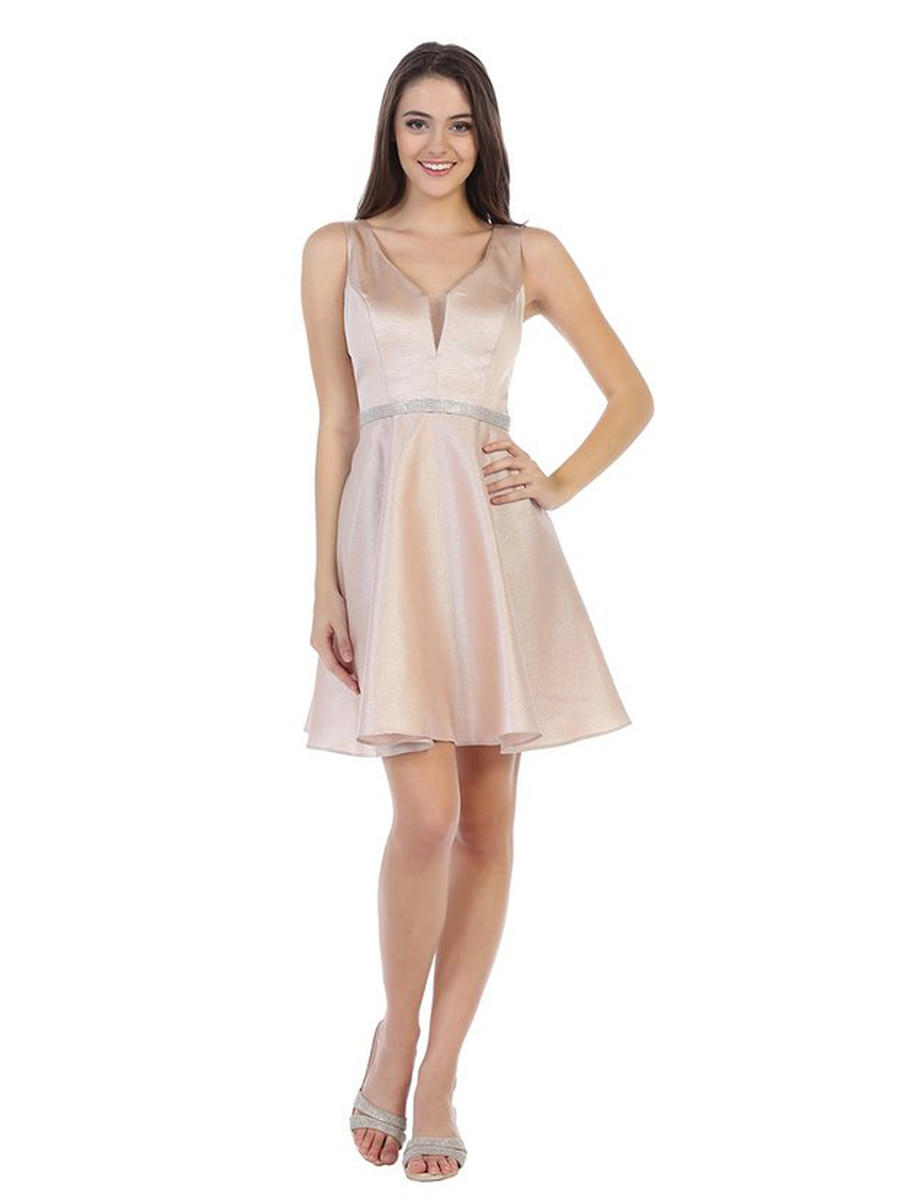 CINDY COLLECTION USA - Satin Metallic Dress