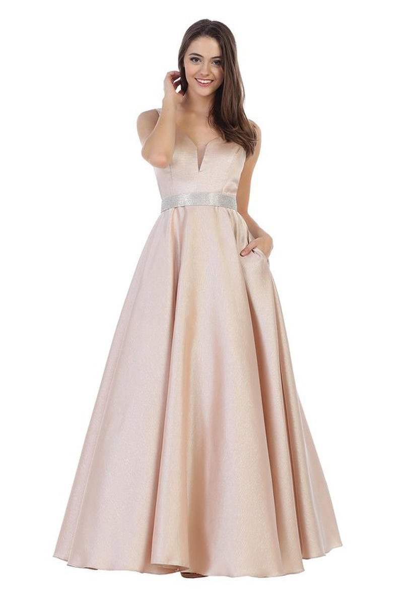 CINDY COLLECTION USA - Metallic Satin Gown-Bead Belt