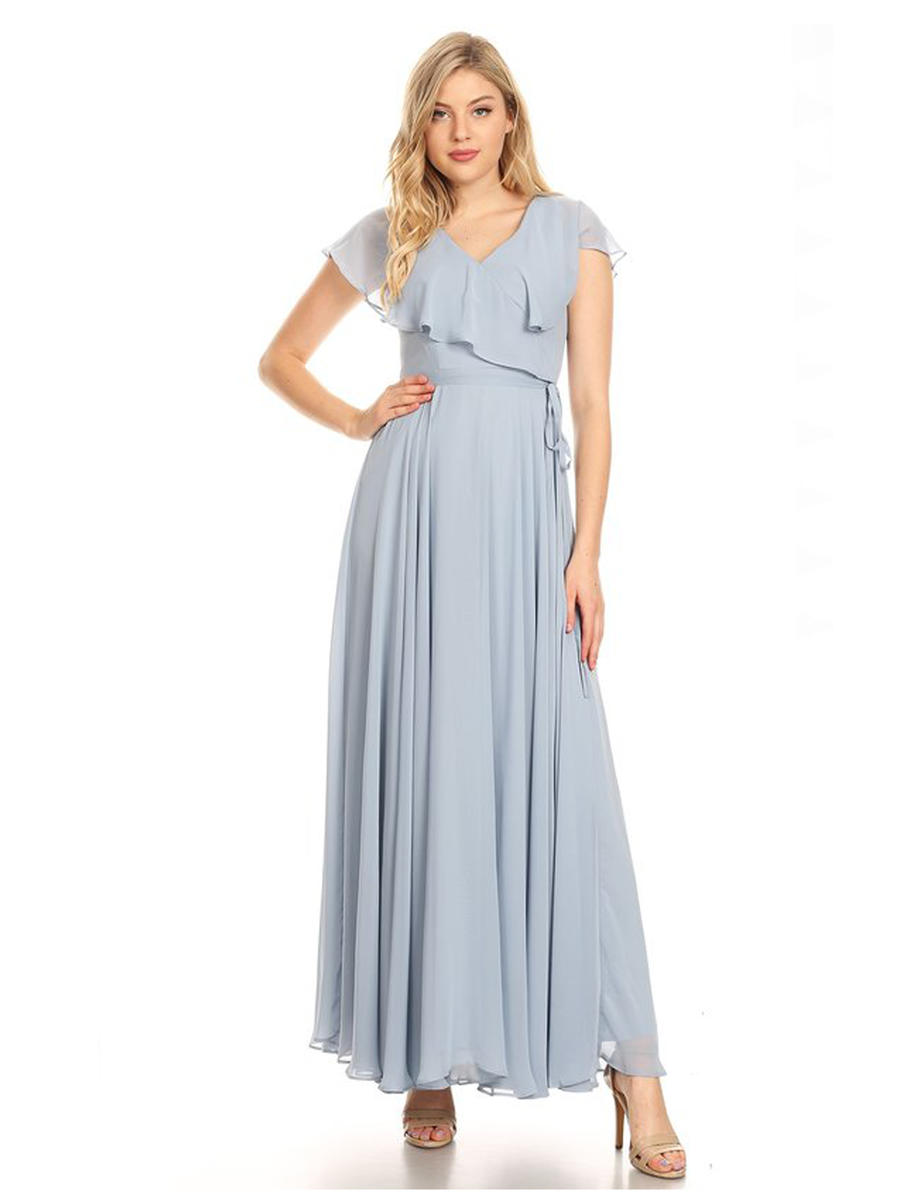 CINDY COLLECTION USA - Chiffon Gown Draped Neckline