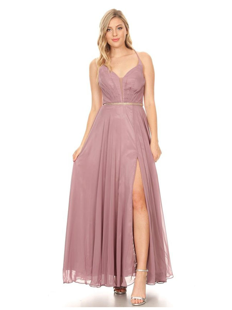 CINDY COLLECTION USA - Chiffon Gown-Bead Belt