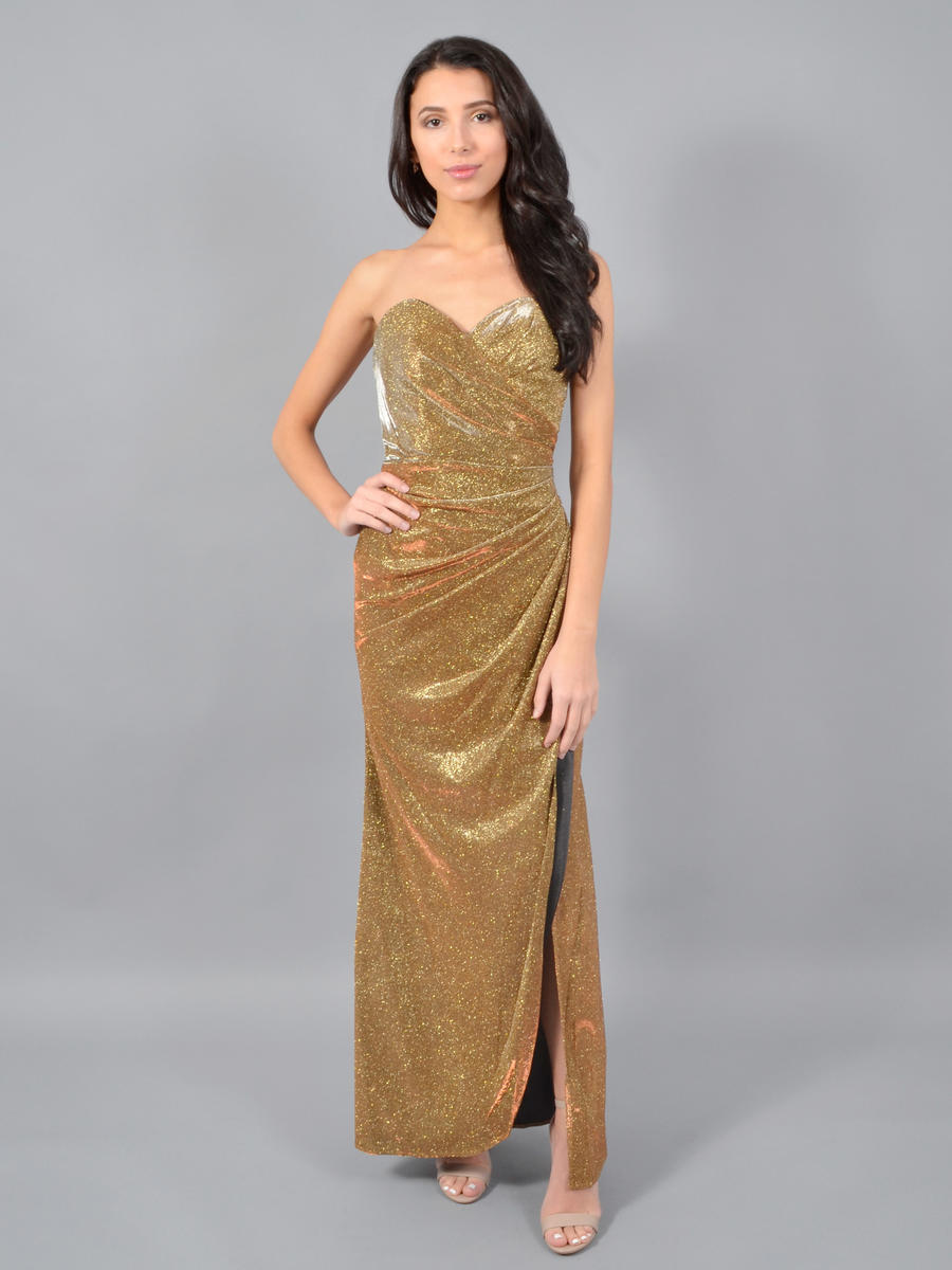 CINDY COLLECTION USA - Strapless Metallic Wrap Gown
