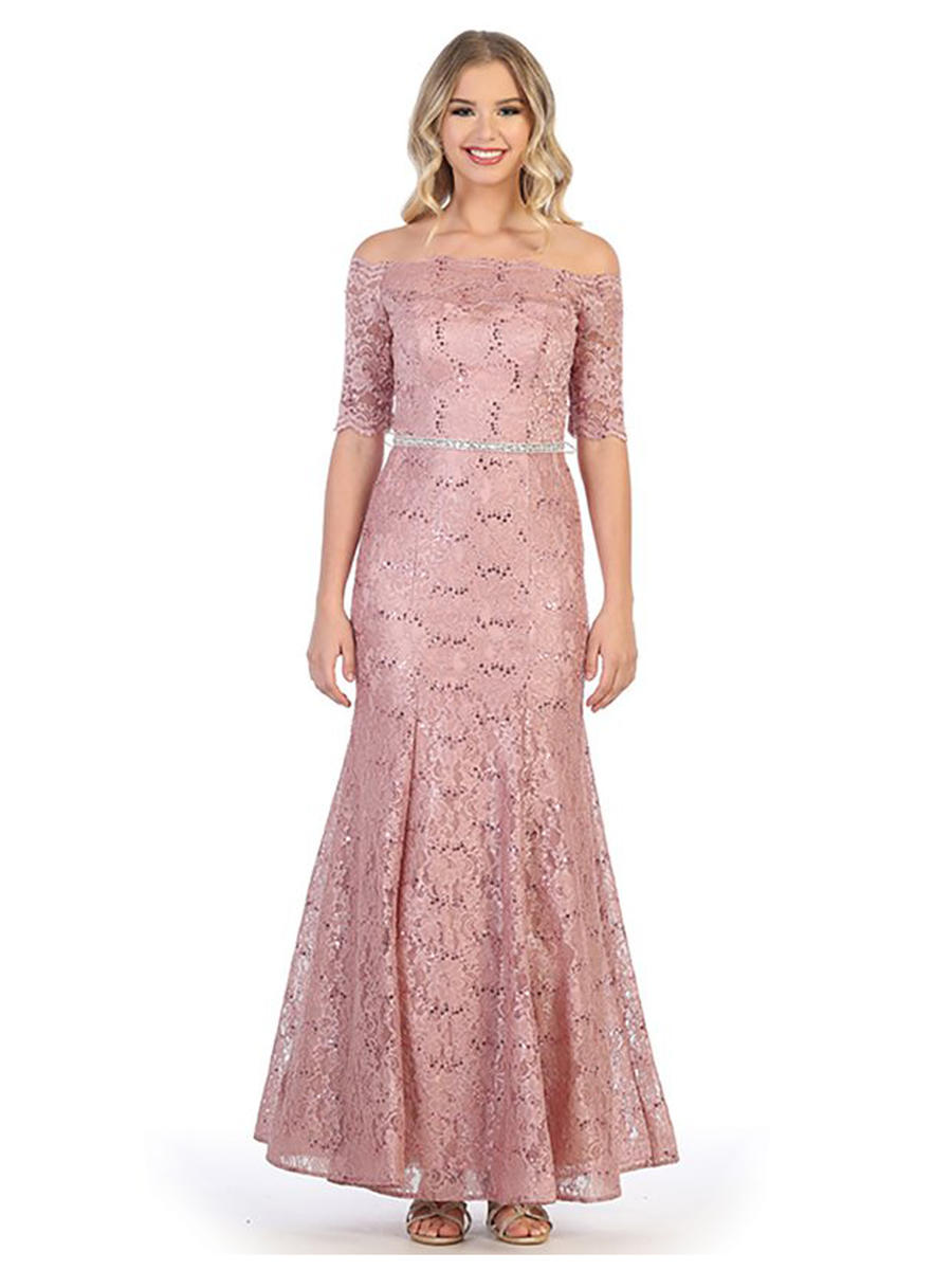 CINDY COLLECTION USA - Short Lace Off Shoulder Gown-Belt
