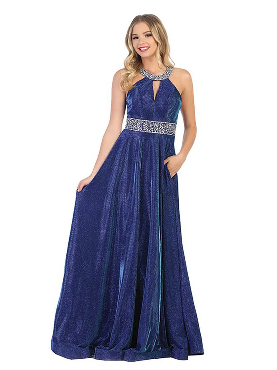 CINDY COLLECTION USA - Metallic Halter Gown-Bead Waist