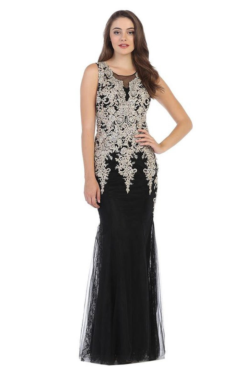 CINDY COLLECTION USA - Beaded Jersey & Tulle FIt & Flare Gown