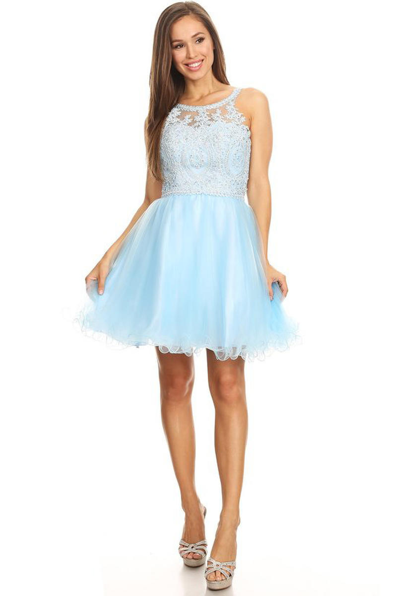 Tulle Dress Applique Bodice Halter Neck