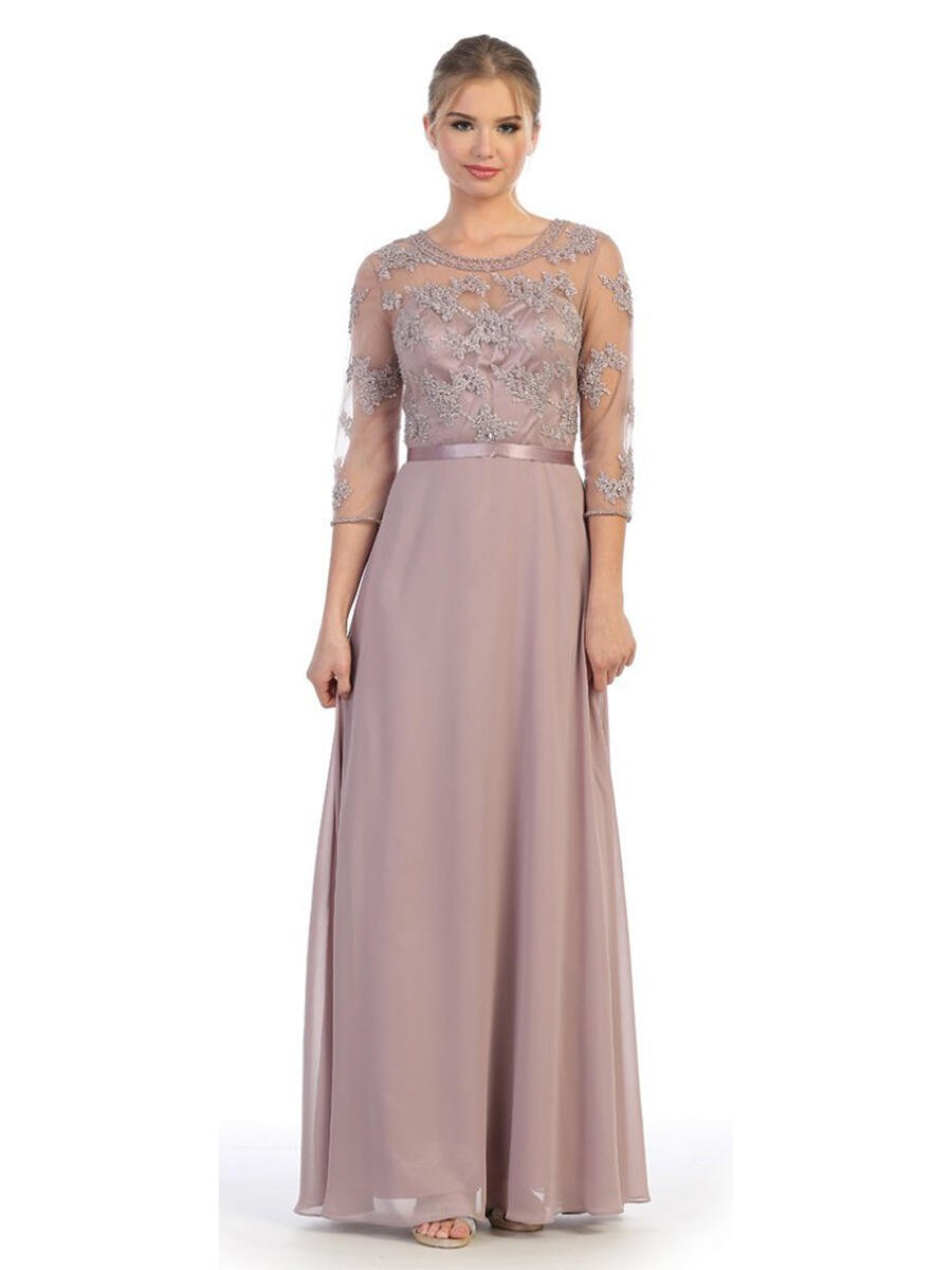 CINDY COLLECTION USA - Embellished Chiffon Half Sleeve Gown