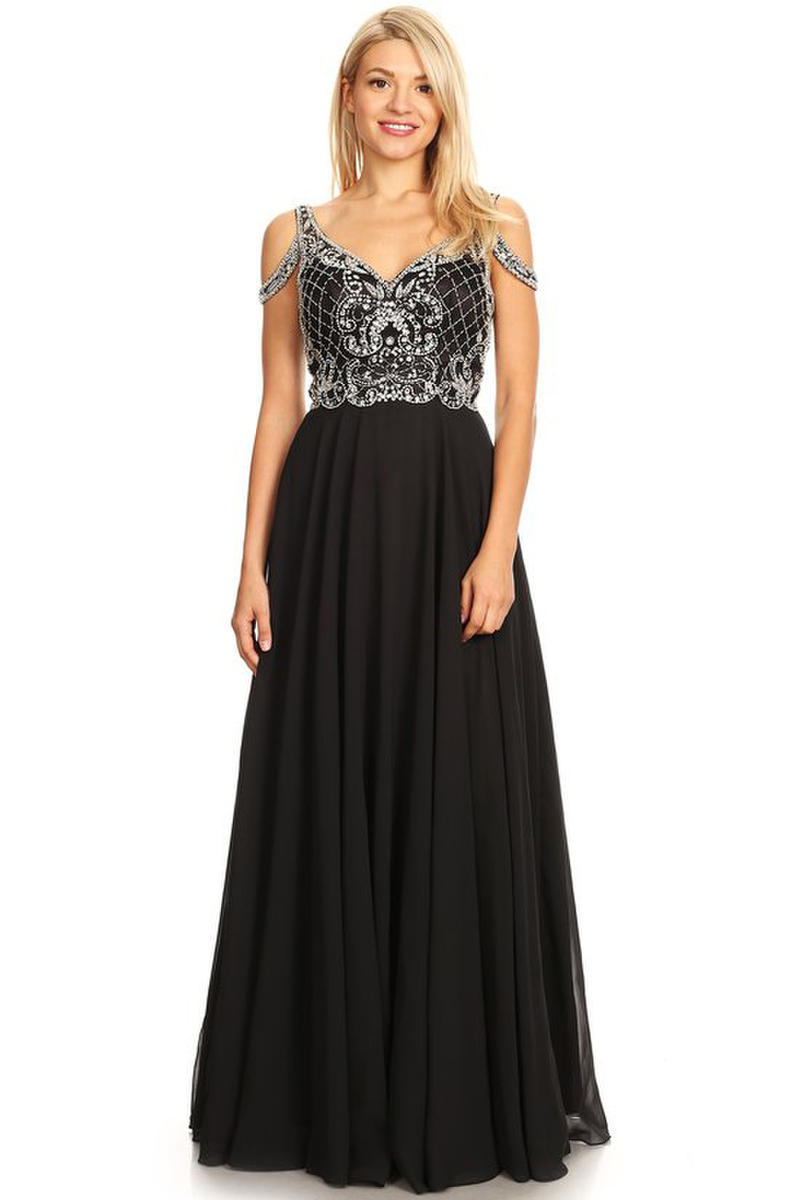 CINDY COLLECTION USA - Embellished Cold-Shoulder V-Neck Gown