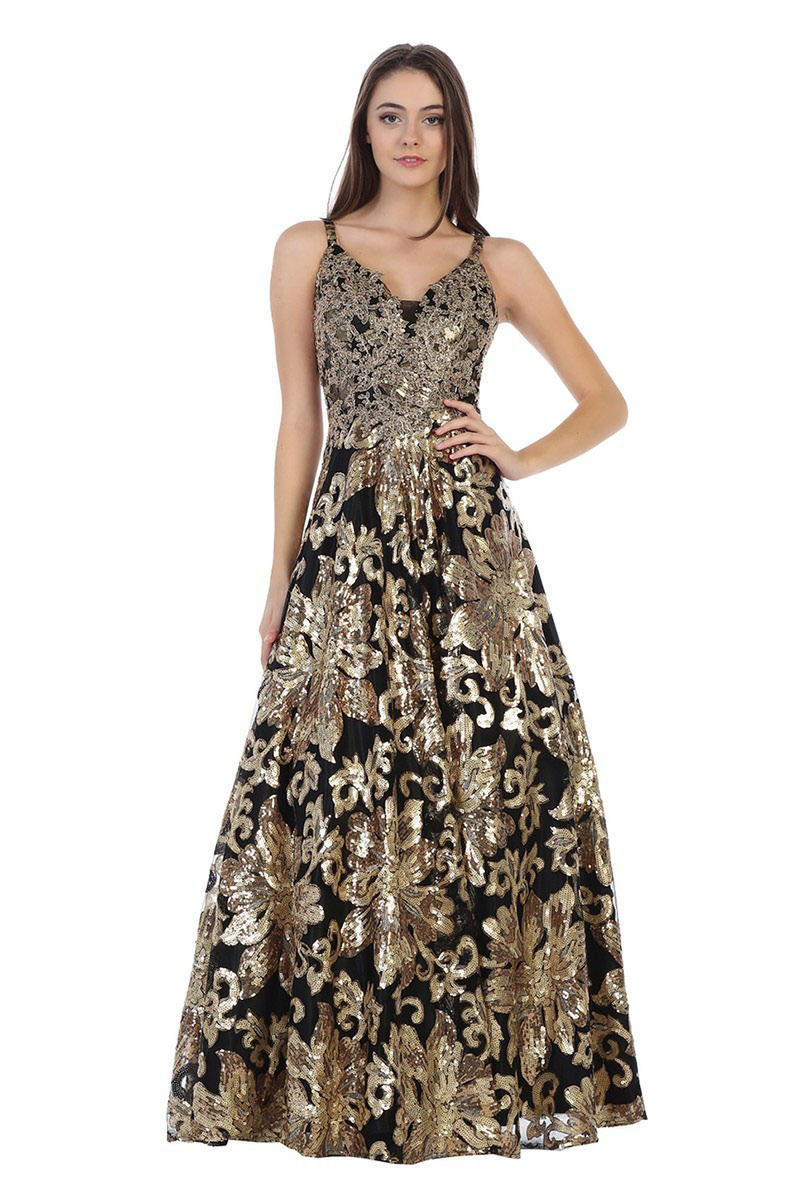 CINDY COLLECTION USA - Mesh Sequin Spaghetti Strap Gown