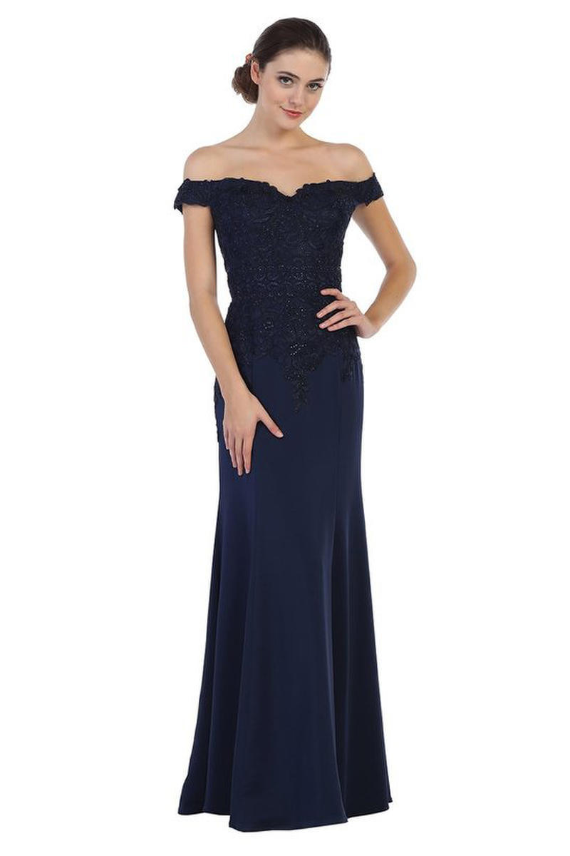 CINDY COLLECTION USA - Satin Off the Shoulder Embroidered Gown