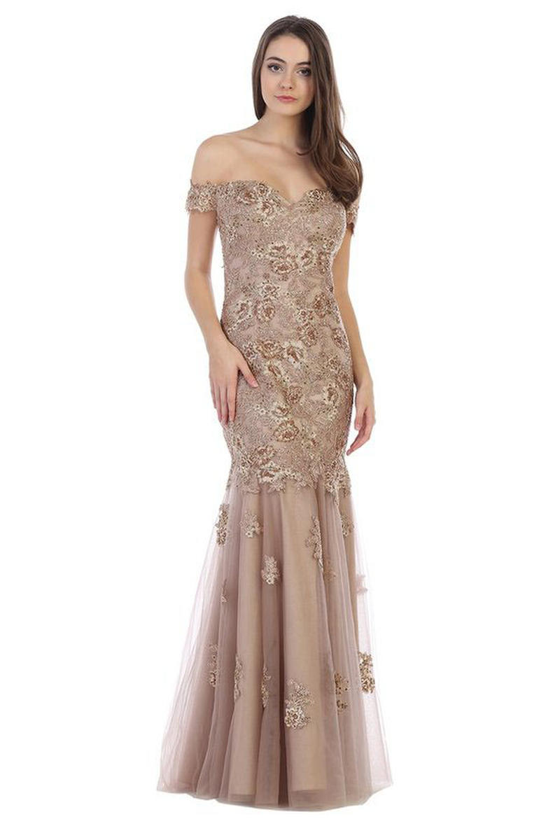CINDY COLLECTION USA - Lace Beaded Gown