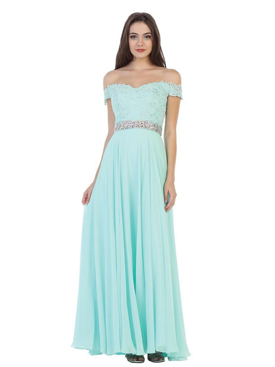 CINDY COLLECTION USA - Chiffon Gown-Embroidered Bodice