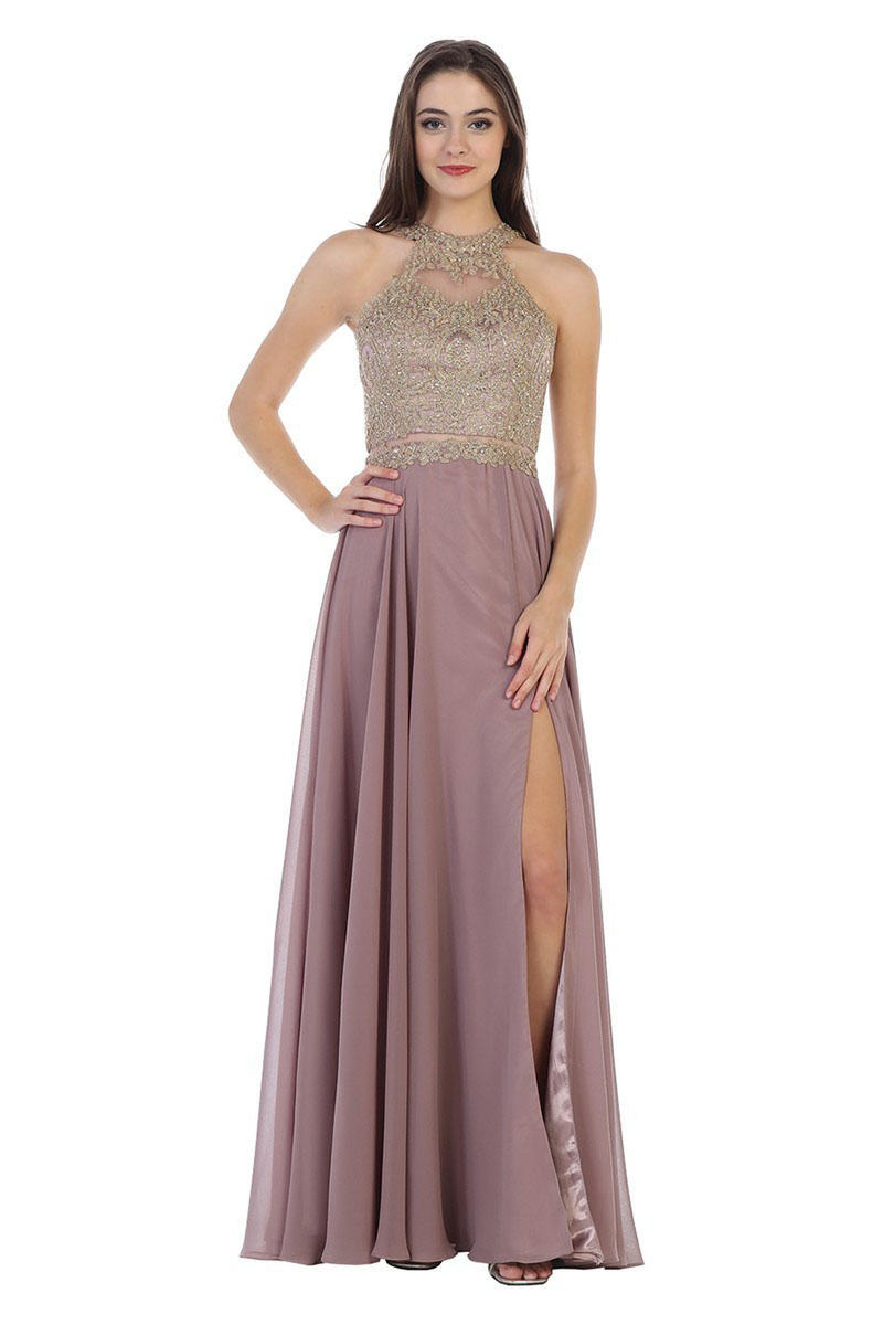 CINDY COLLECTION USA - Jersey Metallic Embroidered Beaded Bodice Gown