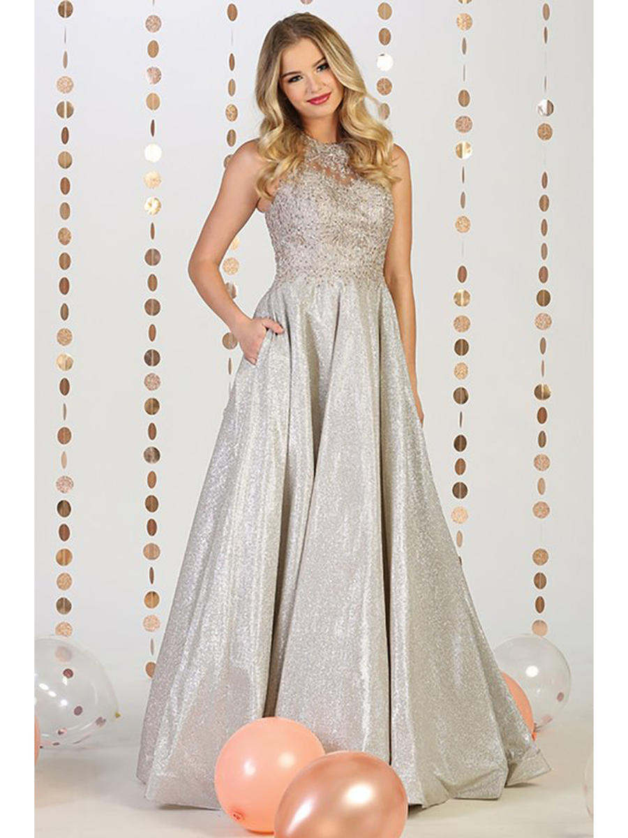 CINDY COLLECTION USA - Metallic Halter Gown-Bead Bodice
