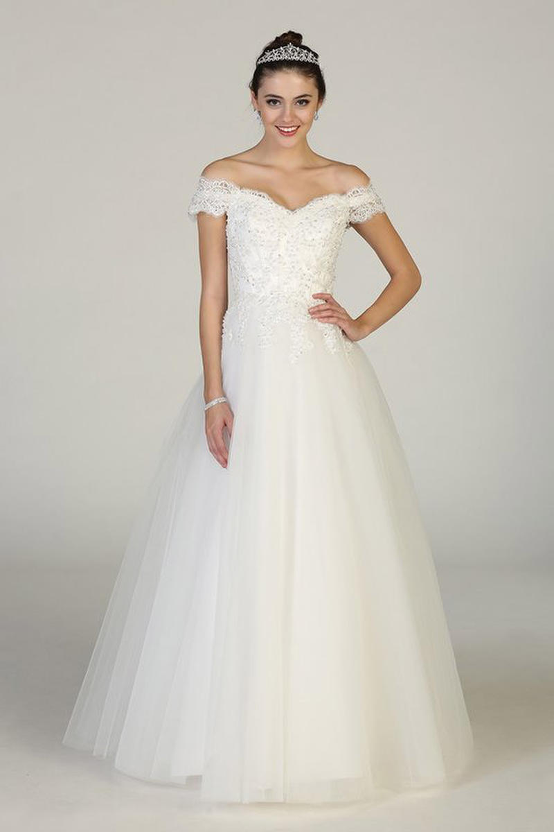 CINDY COLLECTION USA - Off-Shoulder Embroidered Bridal Gown
