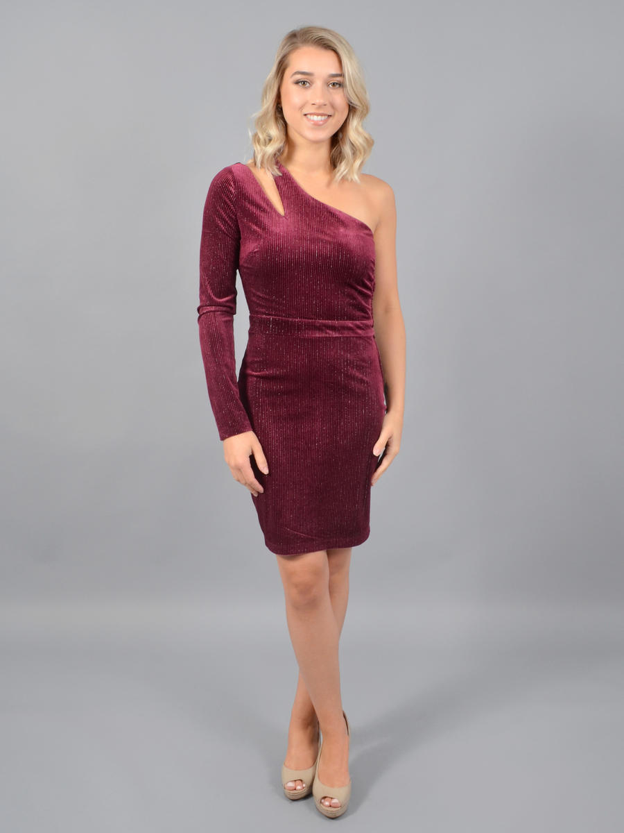 CITY TRIANGLES - Velvet Pleat One Long Sleeve Dress