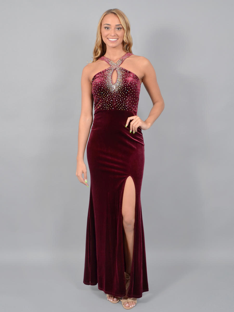 CITY TRIANGLES - Velvet Halter Gown-Bead Trim