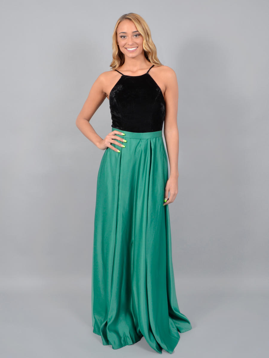 CITY TRIANGLES - Satin Gown-Velvet Bodice