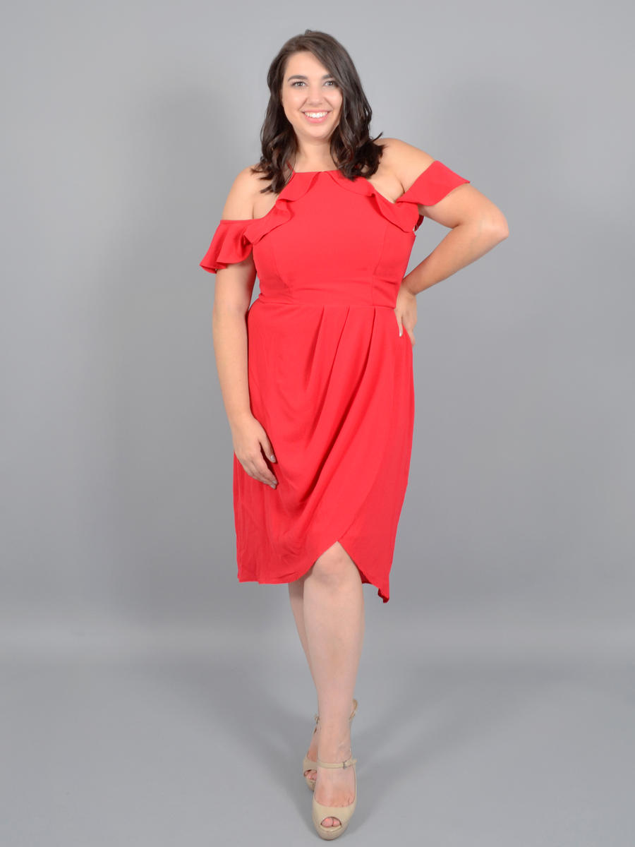 CITY TRIANGLES - Chiffon Dress Cold Shoulder