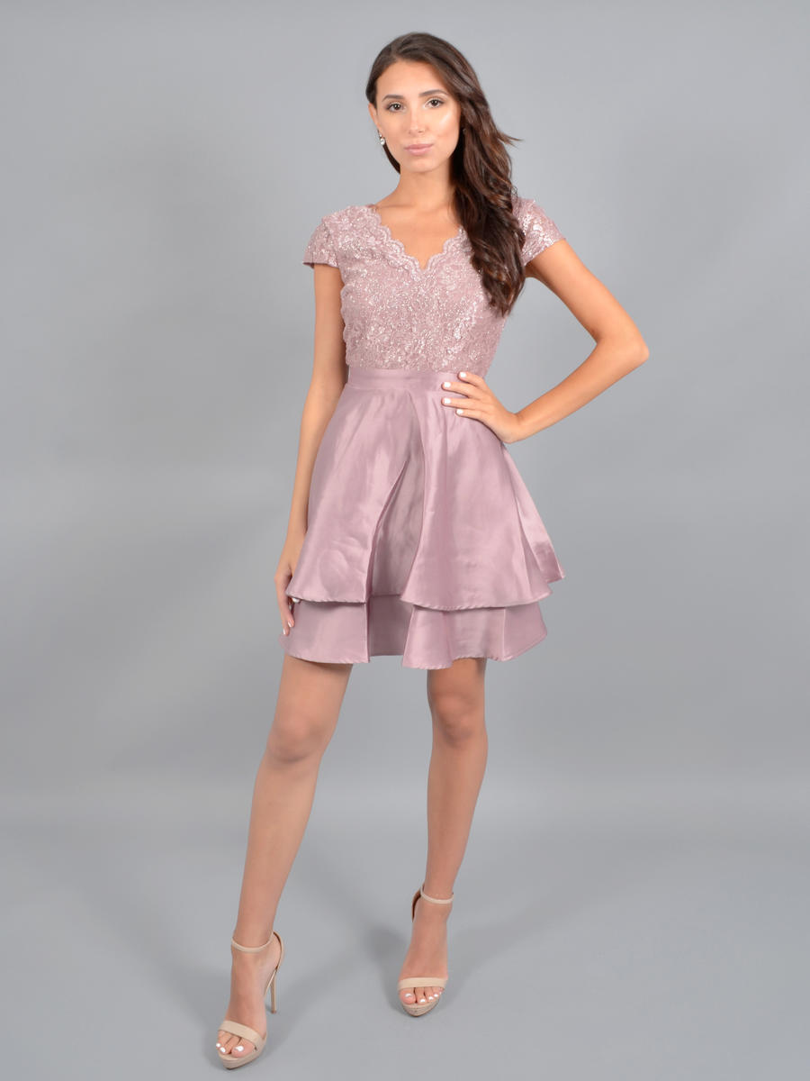 CITY TRIANGLES - Short Sleeve Satin Dress-Metallic Bodice