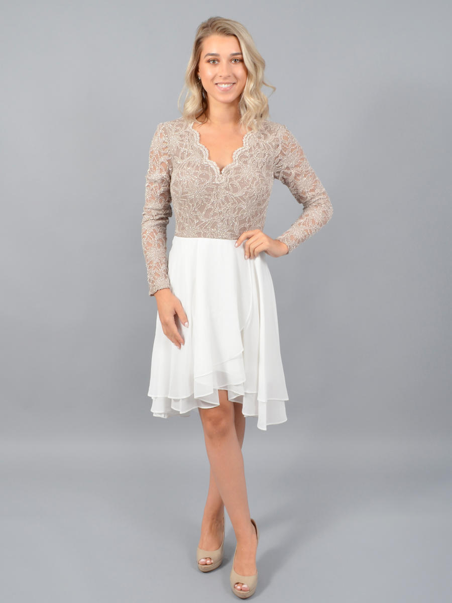 CITY TRIANGLES - Long Sleeve Chiffon Dress-Lace Bodice