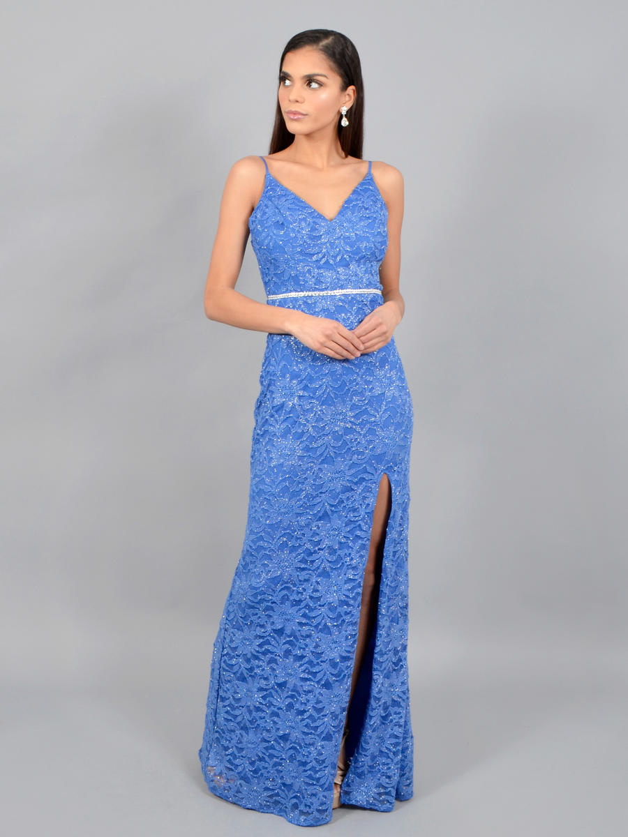 CITY TRIANGLES - Metallic Lace Gown-Bead Waist