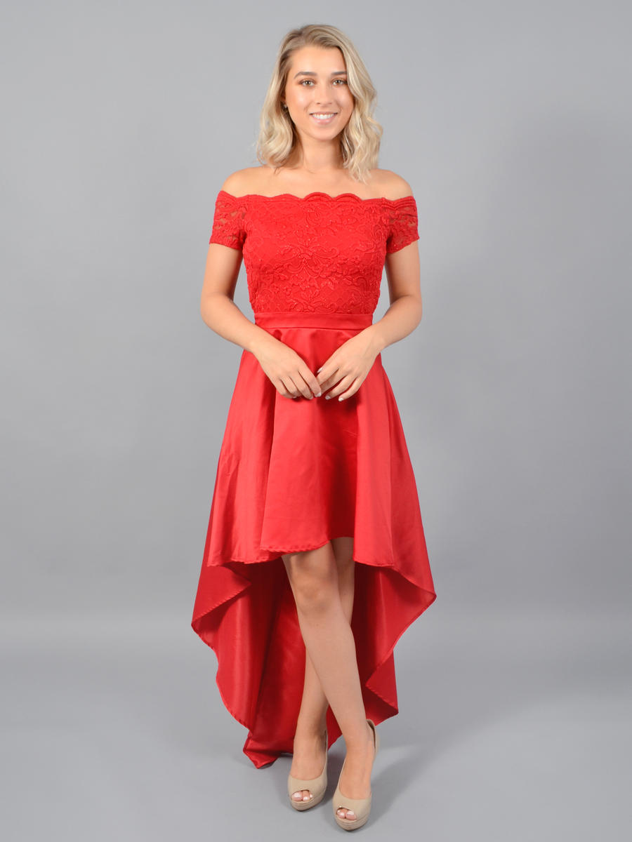 CITY TRIANGLES - Satin High Low Off Shoulder Gown