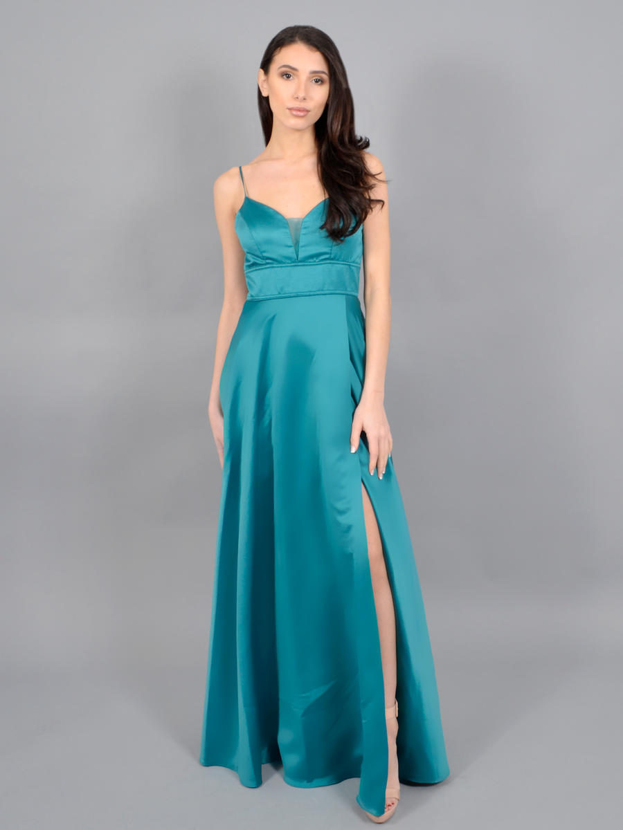 CITY TRIANGLES - Satin Gown-Spaghetti Strap