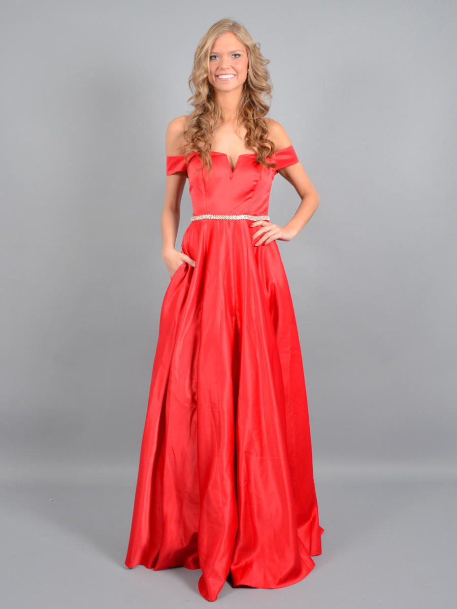 CITY TRIANGLES - Satin Gown Off The Shoulder Beaded Waist