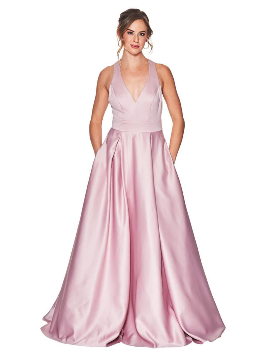 CITY TRIANGLES - Satin Halter Gown-Back Bow
