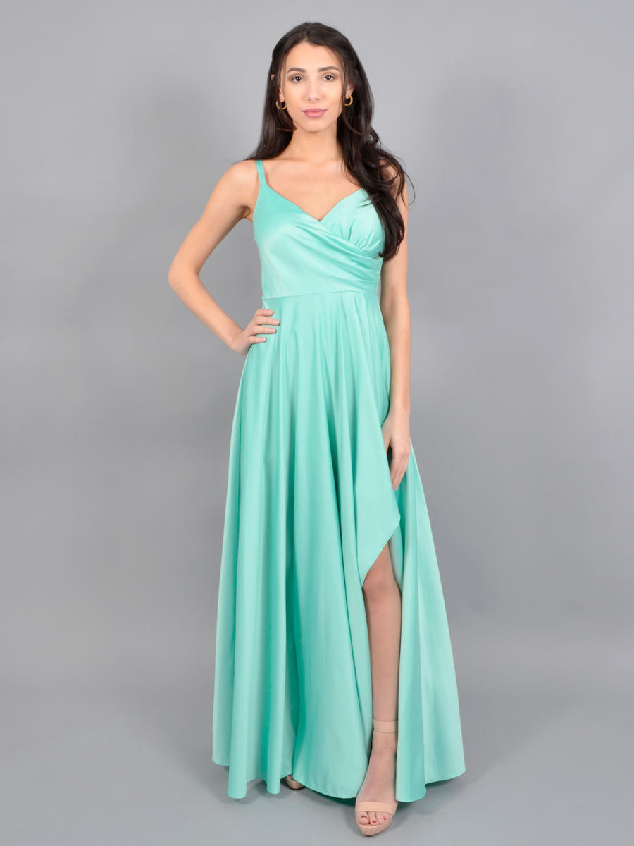 CITY TRIANGLES - Satin Wrap Waist Gown