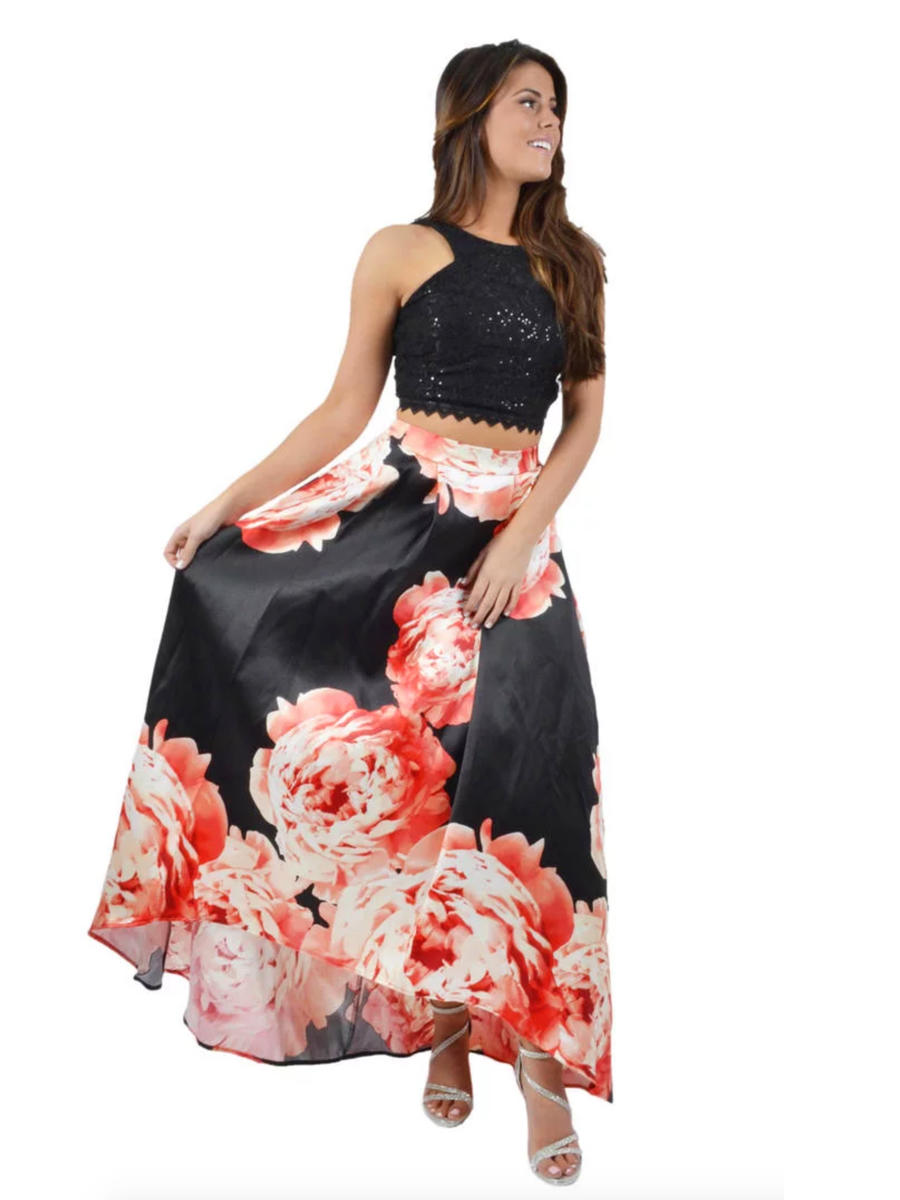 CITY TRIANGLES - Satin & Lace Two-Piece Floral Print Gown