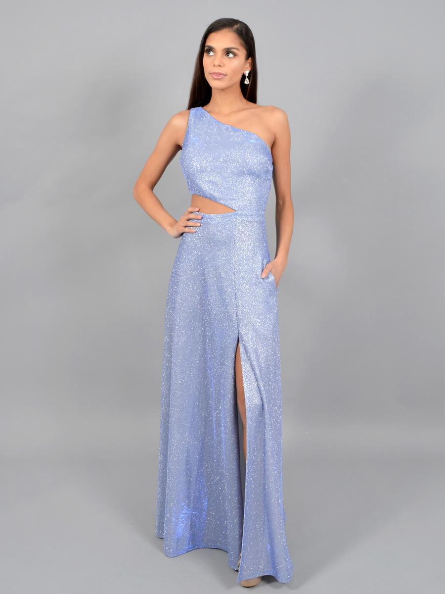 CITY TRIANGLES - One Shoulder Metallic Gown-Open Waist