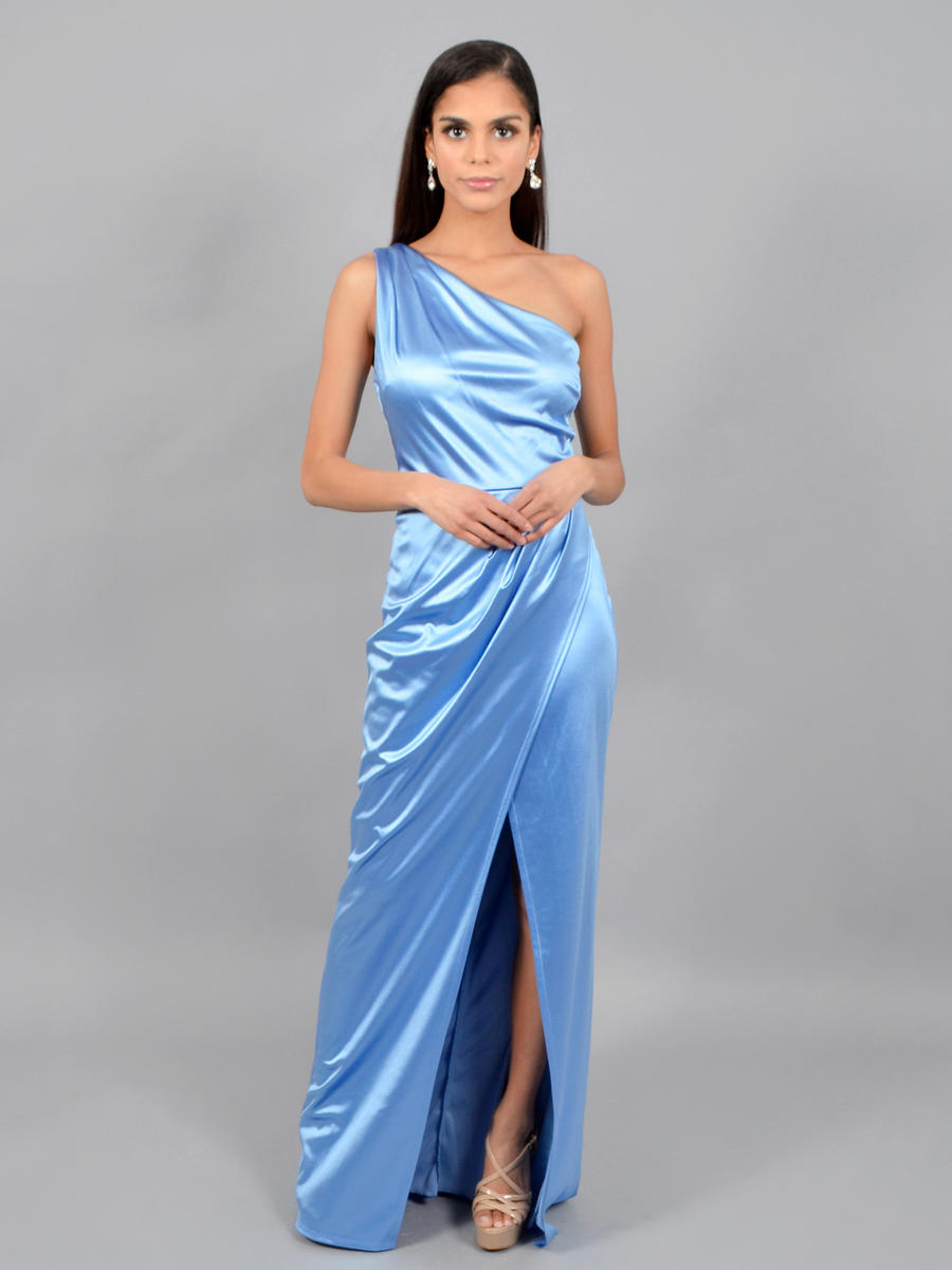CITY TRIANGLES - One shoulder Satin Gown-Wrap Waist