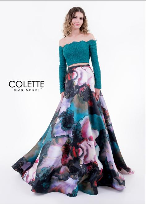 Colette by Mon Cheri - Floral Print Two-Piece Lace & Satin Gown
