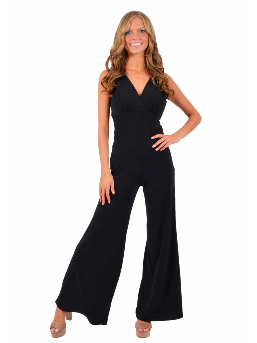 CLARA S INC - Wide Leg V-Neck Jersey Jumpsuit