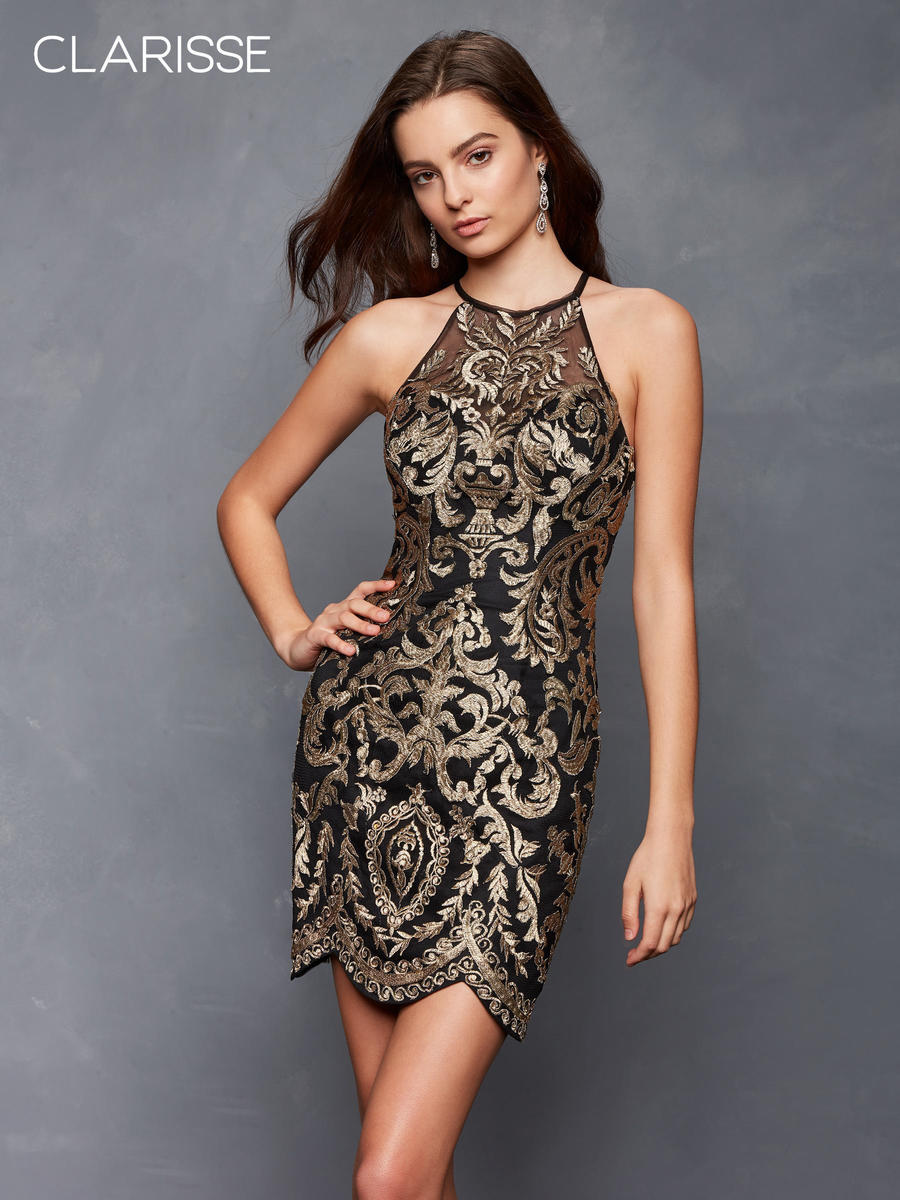 Metallic Embroidered Dress Open Back