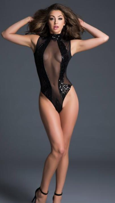 Allure Lingerie - Sleeveless Sequins High Neck