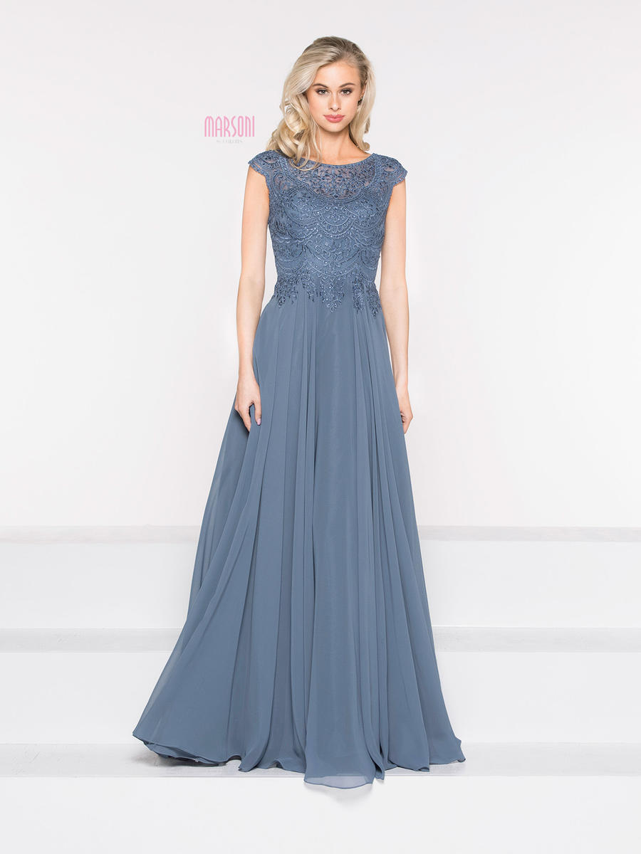 COLORS - Chiffon Gown Sheer Beaded Bodice