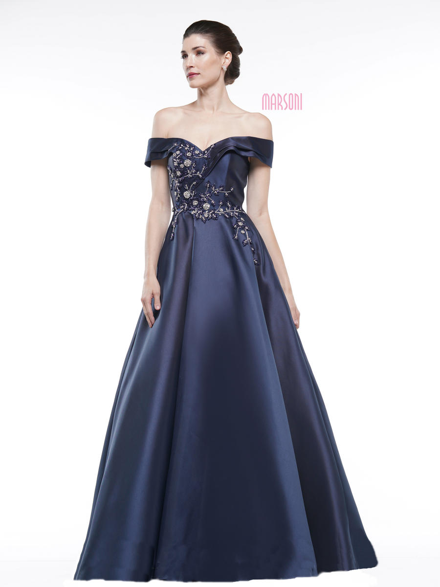 COLORS - Satin Gown Beaded Bodice