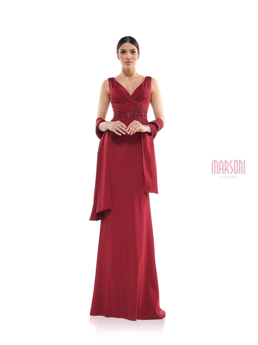 COLORS - Satin Gown Beaded Wrap Waist