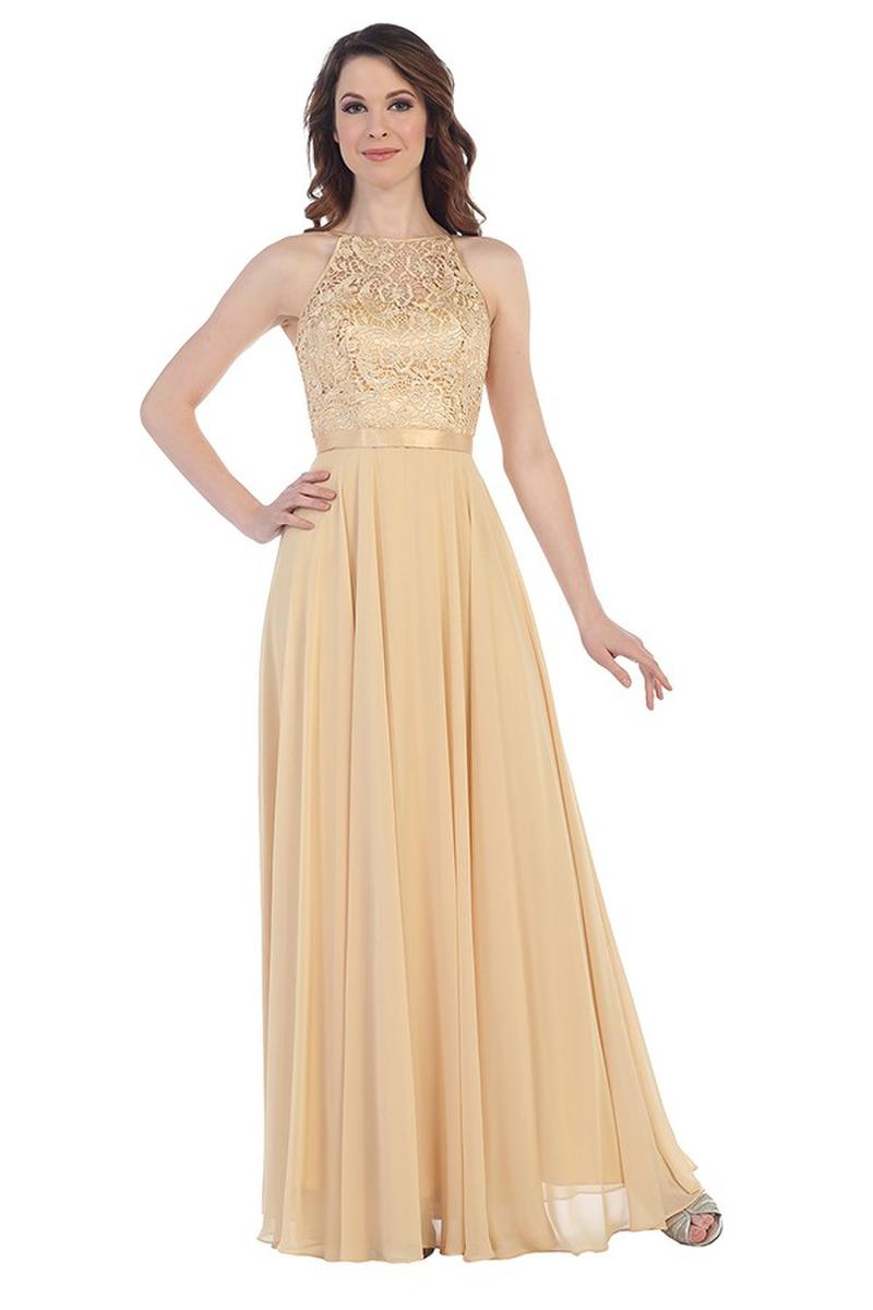 CINDY COLLECTION USA - Embellished Lace & Chiffon Halter Neck Gown
