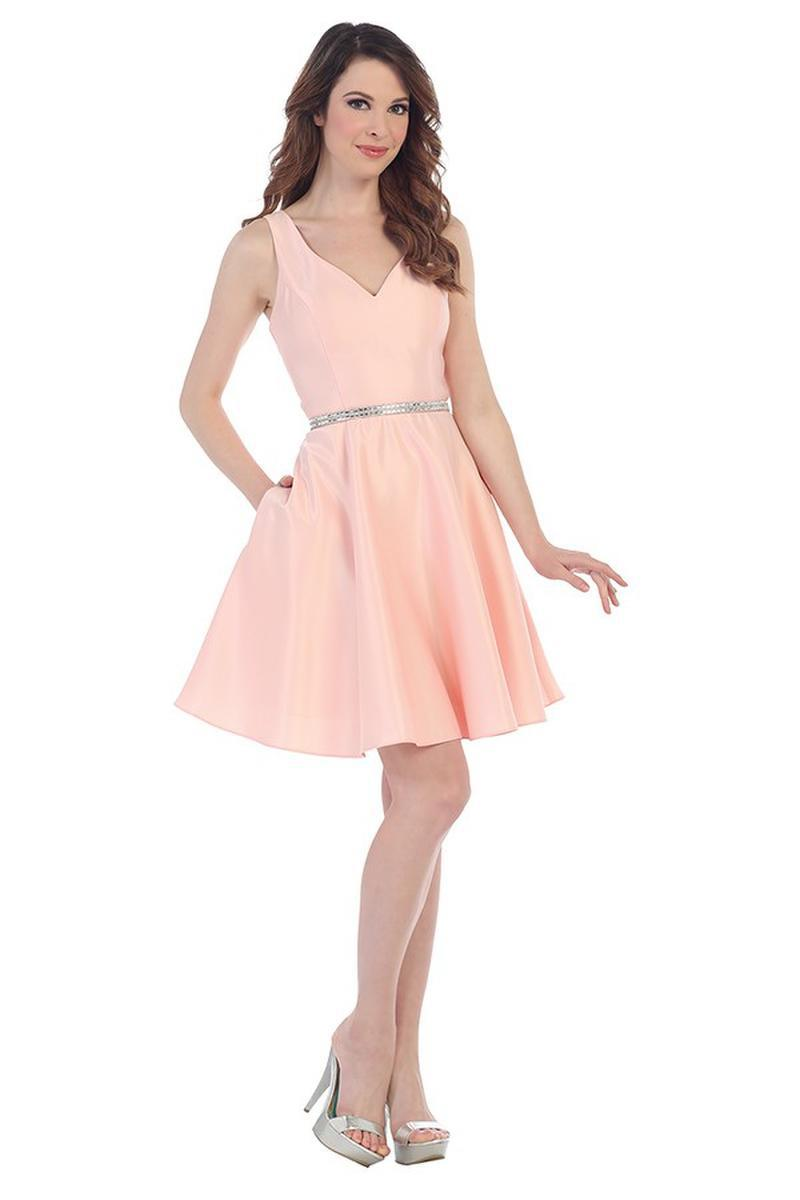 CINDY COLLECTION USA - Short Satin V-Neck Fit & Flare Dress