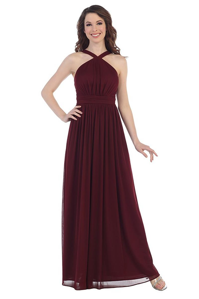 Chiffon Halter Gown with Scarf