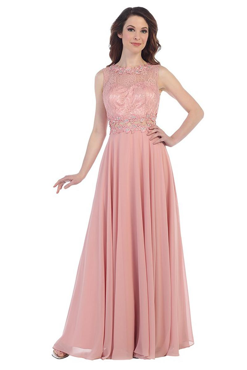 CINDY COLLECTION USA - Embroidered High Neck Chiffon Illusion Gown-SHAWL