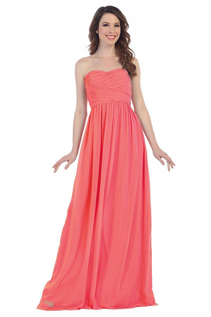 Strapless Pleated Bodice Chiffon Gown