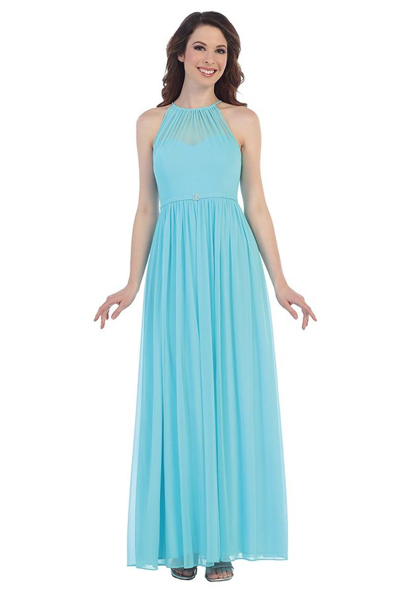 CINDY COLLECTION USA - Pleated Chiffon Halter Neck Gown