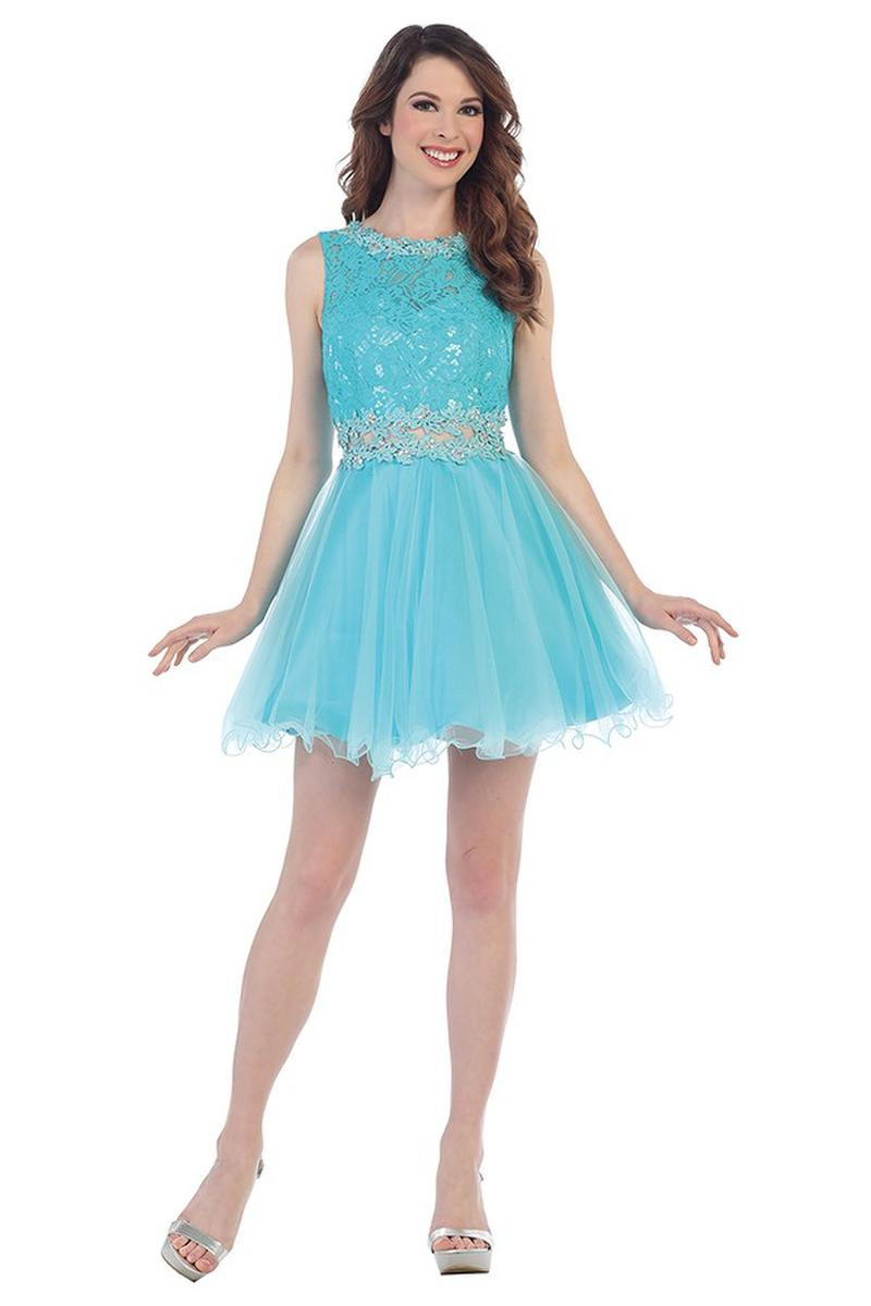 CINDY COLLECTION USA - Short Lace & Tulle Beaded Waist Fit & Flare Dress