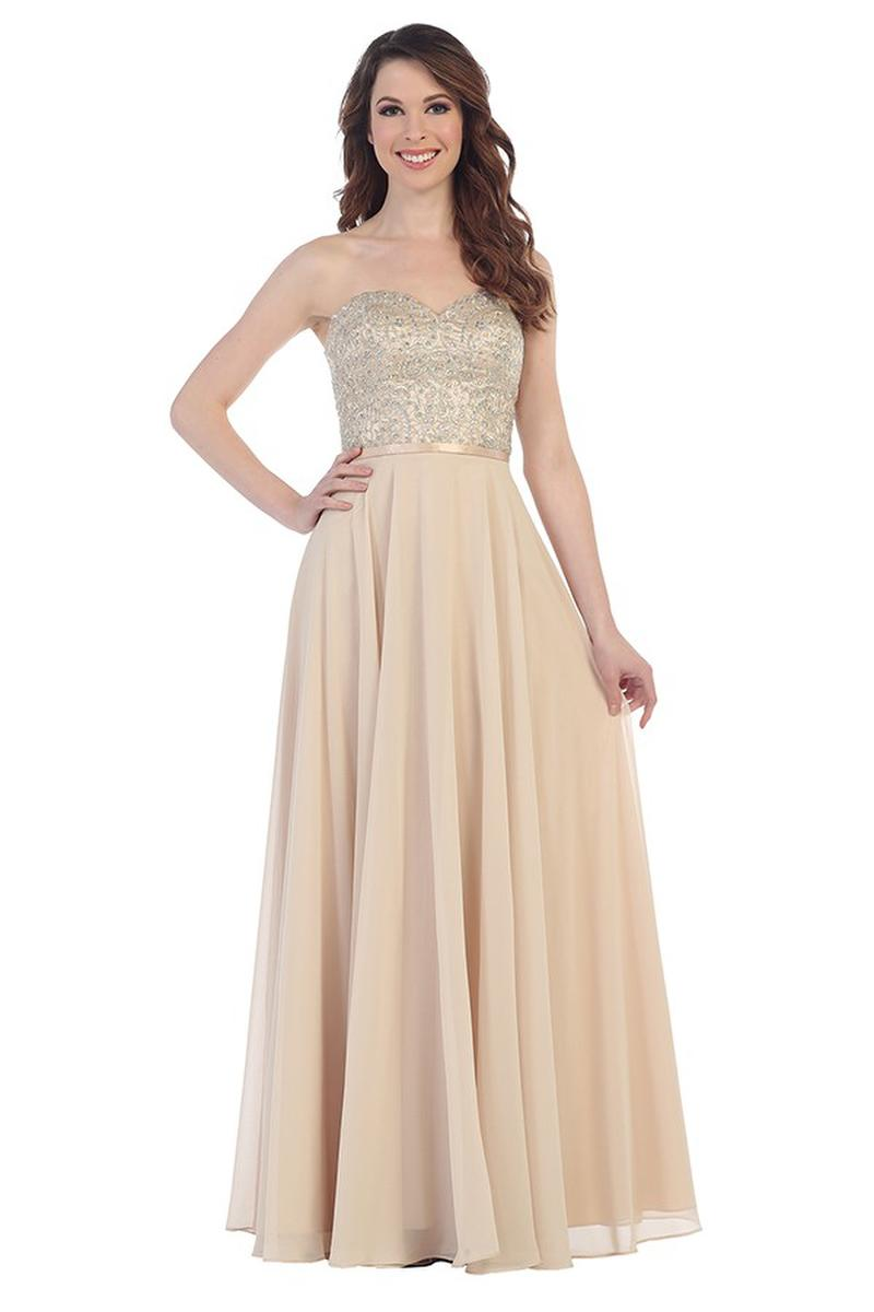 CINDY COLLECTION USA - Strapless Beaded Chiffon A-Line Gown