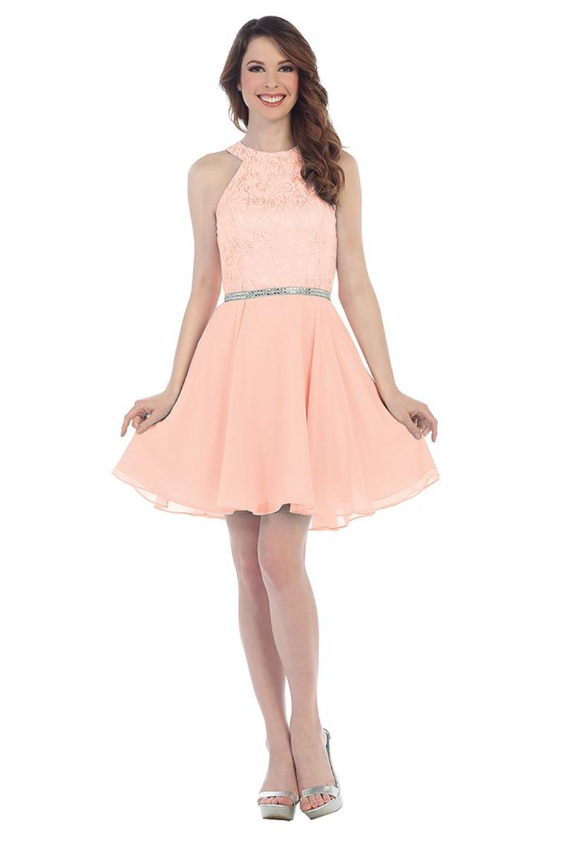 CINDY COLLECTION USA - Short Lace & Chiffon Fit & Flare Dress